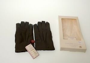 DENTS HUNTER  GREEN LEATHER CASHMERE LINED GLOVES HANDMADE  IN ENGLAND  NIB