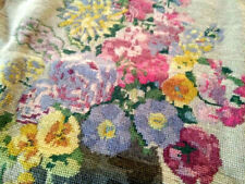 Gorgeous Cottage Flowers   Vintage Completed Tapestry Picture/Panel-Ready to use