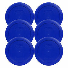 Pyrex 7200-PC Cadet Blue 2 Cup Round Plastic Lid Covers 6PK for Glass Bowls