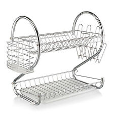 Deluxe 2 Tier Chrome Kitchen Dish Drainer Plates Rack Glass Holder With Tray AU