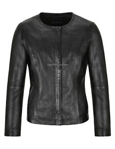 Women Leather Jacket Black Classic Collarless Casual Fashion Leather Jacket 1653