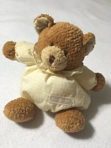 Carters Yellow Gingham Plush Brown Teddy Bear Rattle Round Puffy Baby Lovey Fat
