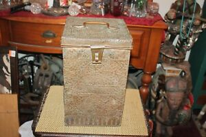 Antique Middle Eastern Flemish Copper Metal Container Box Handle Floral Scrolls