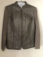 Peter Nygard Womens Petite Large Gray Leather Front Knit Back Zip Up Jacket