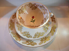 BAREUTHER WALDSASSEN BAVARIA GERMANY TRIO RED ROSE CUP, SAUCER, PLATE SET #20