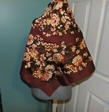 Women's Hasting & Smith Floral Scarf Wine Color Italy Square 34 x 34