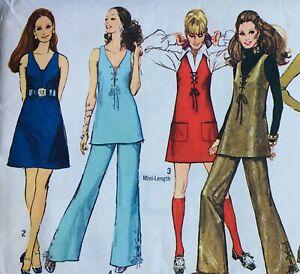 Vintage 1960's  SASSY LACE-UP BODICE MINI-DRESS / FLARES Sewing Pattern SIZE 10