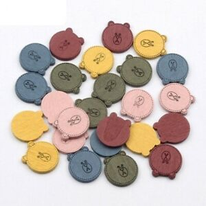 20pcs Wooden Button Bear Crafts Unfinished Embellishments Scrapbooking Homes
