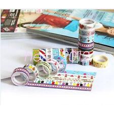 Mixed 10 Rolls Cartoon Tape Scrapbook Adhesive Paper Sticker Kids Handcraft