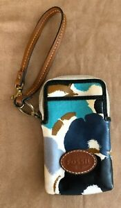 Fossil Wallet Wristlet Small Cell Phone Coin Purse Pocket Credit Card keyper