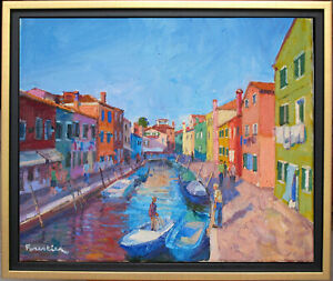 CANAL IN BURANO~ITALY~LISTED ARTIST~ORIGINAL OIL PAINTING BY MARC FORESTIER