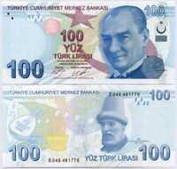 """Turkey 100 Lira 2009 / 2017 P 226 C Prefix """"E"""" UNC"""