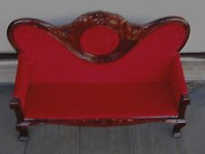 "HUGE ANTIQUE 19""  VICTORIAN MAHOGANY WOOD VELVET SETTEE FITS 16"" ANTIQUE DOLL"