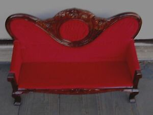 "HUGE ANTIQUE VICTORIAN MAHOGANY WOOD VELVET SETTEE FITS 16"" ANTIQUE DOLL JUMEAU"