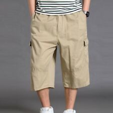 Men 3/4 Length Cargo Pants Shorts Loose Casual Pockets Cotton Trousers Over Size