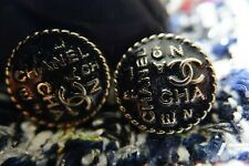 100% Chanel buttons 2 pieces   metal cc logo 0,7 inch 17 mm  💔 black