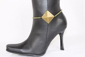 Women Vintage Gold Metal Chain Boot Bracelet Anklet Shoe Pyramid Charm Jewelry