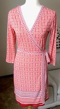 Max Studio Size S Red Orange White Wrap Dress, NWOT