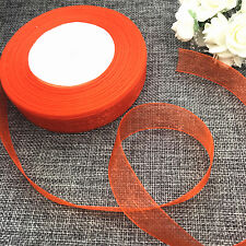 5 yards 2inch 50mm width Satin Edge Sheer Organza Ribbon  Bow Craft Orange