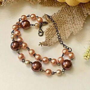 Premier Designs Rose Pink Gold Bead Double Strand Chain Bracelet - New!