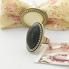 Combo Vintage Black+White Big Oval Gem Stone Size Adjustable Ring For Men Women