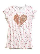 NEW GUESS ROZLYNN WHITE+PINK HEARTS TEE,T-SHIRT,ROSE GOLD HEART BEADS SIZE 12-14