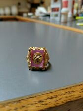 10kt Tri-Color Black Hills Gold Shriners Men's Synthetic Ruby Masonic Ring Sz 9