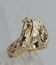 Genuine 9ct Gold Horse Head Ring (not filled or plated)  size N1/2