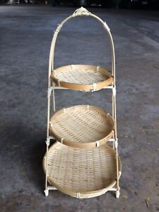 Bamboo Wicker 3 -Tier Food Stand Display Storage Tray Handcraft Home Decor