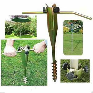 Heavy Duty Screw In Metal Ground Spike Base For Rotary Washing Line or Parasol
