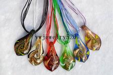 Wholesale Lot 6Pcs Leaf Murano Glass Pendant Silver P Necklace FREE
