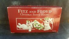 Fitz And Floyd Christmas Bunny Blossoms Figurines With Box