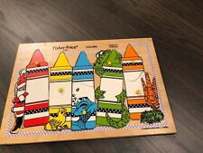 """1970's Fisher-Price  """"Colors"""" #2716 10 Piece Wooden Puzzle - Ages 2-4"""