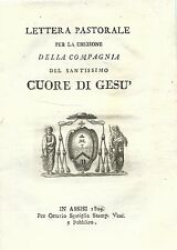 Lettera Pastorale Erezione Compagnia Santissimo Cuore di Gesù - Assisi 1809
