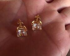 Mens Ladies 1.25 ct. Lab Diamond 18K Gold Filled Screw Back Stud Earrings 6mm
