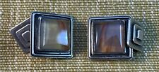Superb Pair of Art Deco Silver and Agate Cufflinks