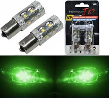 LED Light 50W 1156 Green Two Bulbs Rear Turn Signal Replace Show Use Stock JDM