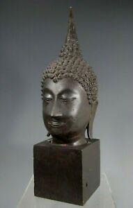 """Thai Thailand Sukhothai bronze Head of the Buddha 12"""" High ca. 19-20th century"""