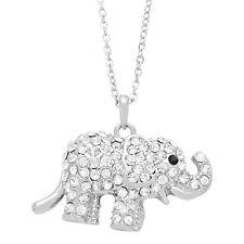 "Elephant Charm Pendant Fashionable Necklace - Sparkling Crystal - 16"" Chain"