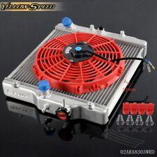 For HONDA CIVIC D15/16 EG / EK 92-00 3 Row 52MM Aluminum Radiator With Red Fan