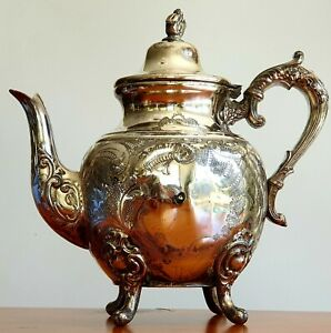 """Remarkable Old English Silver Plated Coffee Pot by """"C. B. Walker Silversmith"""""""