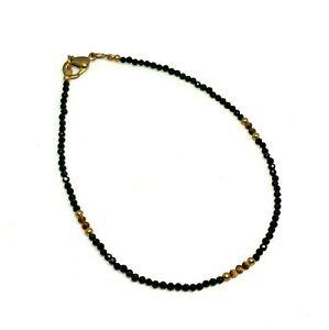 Natural Black Spinel, Tiger Eye Tiny Seed Rondelle Faceted Beads Anklet Brass
