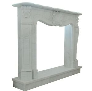 Fireplace Style Louis XVI White Marble Classic Stone Carrara Old Frame