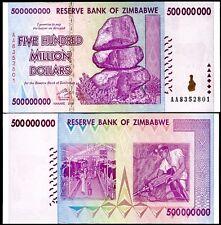 ZIMBABWE 500 MILLION DOLLARS 2008 P 82 IN 50 & 100 TRILLION SERIES AU-UNC