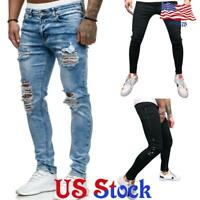 Men Ripped Wash Jeans Destroyed Straight Slim Fit Denim Pants Trousers Casual