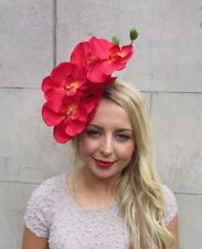 Red Velvet Orchid Flower Fascinator Hat Headband Races Wedding Vintage Hair 3271