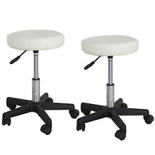 2X Adjustable White Swivel Hydraulic Salon Stool Rolling Chair Facial Massage