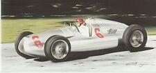 Auto Union Type D V16 1938  ? V16 Donnington Nuvolari long greeting card Dugan