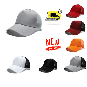 NEW Plain Baseball Trucker Mesh Cap Snapback Mesh Curved Mens Women hat Uk