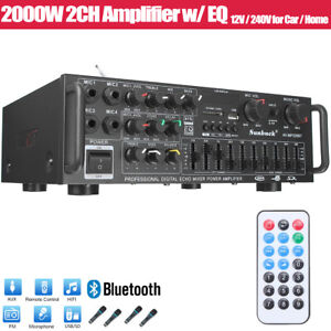 2000W Digital Power Amplifier Bluetooth Stereo HiFi Audio 2CH USB SD FM Car Home